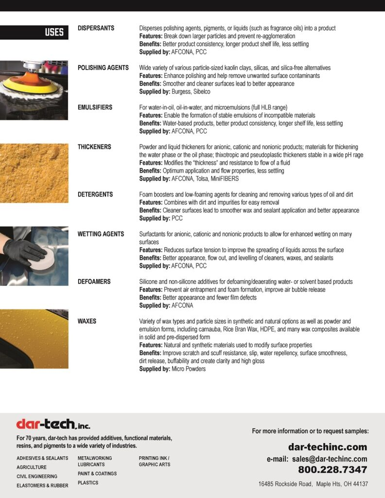 dar-tech car-care appearance products sell sheet page 2