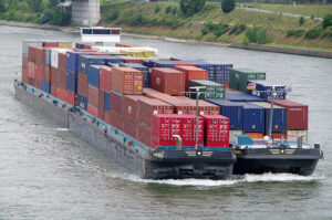 container shipment on barge